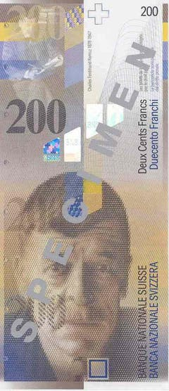 Schriftsteller Charles Ferdinand Ramuz ziert die 200er-Note. (Bild: Archiv der SNB)