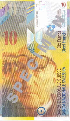Die achte Banknotenserie (auch die siebte kam nie in Umlauf und war somit eine Reserveserie) wurde ab 1995 ausgegeben. (Porträt: Architekt Le Corbusier) (Bild: Archiv der SNB)