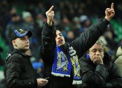 Stinkefinger aus der Fankurve: Ein Fan von Inter Mailand im Februar 2012 beim Match gegen Bologna. (Bild: Keystone)