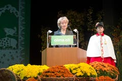 Bundespräsidentin Eveline Widmer-Schlumpf hofft, dass sich möglichst viele Menschen an der Olma ein Bild von der Landwirtschaft machen. (Bild: Urs Bucher)