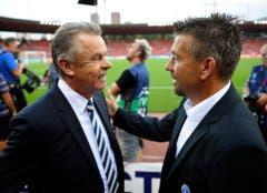 Als Zürich-Trainer traf Urs Fischer vor einem Spiel gegen Bayern München auch den damaligen Nationaltrainer Ottmar Hitzfeld. (Bild: Keystone)