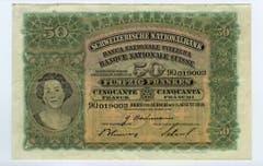 Die 50er- wie auch die 100er-Note wurde nach einem Entwurf von Ferdinand Hodler gestaltet. Sie zeigt auf der Vorderseite einen Frauenkopf in einem Medaillon. (Bild: Archiv der SNB)