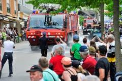 """Romanshorn TG , 25.05.2014 / Festumzug an der Jugendfeuerwehr Schweizermeisterschaft """" Feuer und Wasser """" in Romanshorn (Bild: Donato Caspari)"""
