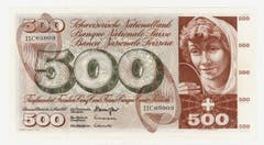 Auf der 500er-Note prangt ein Frauenkopf. (Bild: Archiv der SNB)