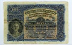Auch die 100er-Note ziert auf der Vorderseite einen Frauenkopf. (Bild: Archiv der SNB)