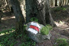 Eine Wegmarkierung auf einem Stein. (Bild: Jolanda Riedener)