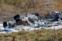 Die Trümmer des Super Pumas. (Bild: Keystone)
