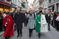 Die St.Galler Regierungspräsidentin Karin Keller Sutter mit ihrem Berner Pendant Bernhard Pulver. (Bild: Urs Jaudas)