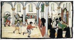 Das Zurschaustellen kirchlichen Reichtums war den Reformierten ein gotteslästerlicher Gräuel. Im Kloster St. Gallen kam es am 23. Februar 1529 zum Bildersturm. Auf das Zeichen Vadians hin begann das dreistündige Wüten der fanatischen Menge. Hernach wurden auf dem Brühl 46 Fuder hölzerner Trümmer verbrannt.