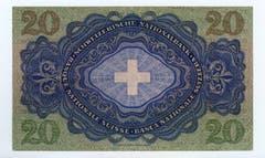 Auf der Rückseite ist das Schweizerkreuz zu sehen. Die Strichzeichnung stammt von Traugott Willi. (Bild: Archiv der SNB)