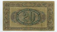 Die Entwürfe der 5er- und der 20er-Note stammen von Balzer, einem Mitarbeiter von Orell Füssli. (Bild: Archiv der SNB)