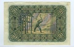 Auf der Hinterseite ist der berühmte Holzfäller Hodlers zu sehen. (Bild: Archiv der SNB)