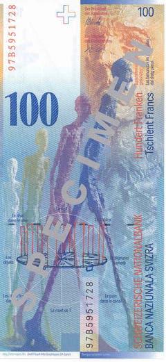 """Die Rückseite der 100er-Note zeigt Werke Giacomettis (""""Lothar II"""", """"Homme qui marche"""") sowie die Zeit-Raum-Beziehung. (Bild: Archiv der SNB)"""