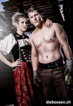 Erich Fankhauser aus dem Kanton Luzern mit Ehrendame Rosmarie von Kaenel. (Bild: dieboesen.ch/Thomas Buchwalder)