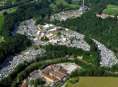 Spektakulär: das OpenAir-Areal von oben. (Bild: Hanspeter Schiess)