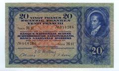 Die Scheine der dritten Serie wurden zwischen 1918 und 1930 als sogenannte Kriegsnoten in einzelnen Etappen entworfen und ausgegeben beziehungsweise als Reservenoten gedruckt. Die 20er-Note zeigt auf der Vorderseite Pestalozzi, gezeichnet von Felix Maria Diogg. (Bild: Archiv der SNB)
