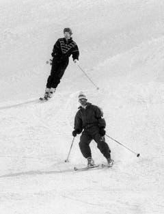 Prinzessin Diana und Prinz Charles beim Skifahren in Klosters. (Bild: Keystone (Klosters, 9. März 1988))