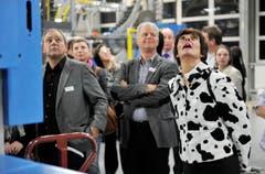 Die Technik bringt zum Staunen: Stettfurts Gemeindeammann Thomas Gamper und die Steckborner First Lady Manuela Baumgartner. (Bild: Reto Martin)