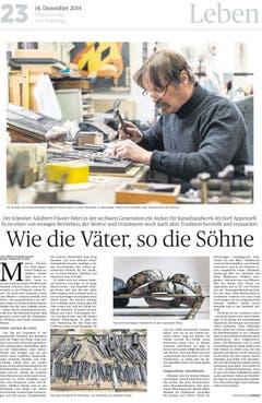 Auch die Reportage von Brigitte Schmid-Gugler (Text) und Hanspeter Schiess (Fotografie) über Künstler Adalbert Fässler zählt zu den prämierten Beiträgen. (Bild: pd)