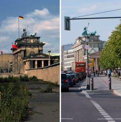 Die Bildkombo zeigt das Brandenburger Tor in Berlin hinter der Mauer (Foto vom 07.08.1974, l.) und das Brandenburger Tor in Berlin mit Strassenverkehr (Foto vom 03.08.11, r.) (Bild: Keystone)