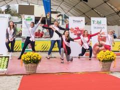 """Marion Weibel tanzte mit ihren Mitstreiterinnen zum Song """"Happy"""" von Pharell Williams. (Bild: Hanspeter Schhiess)"""