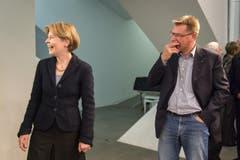 Trotz der Nichtwahl können Esther Friedli und Toni Brunner lachen. (Bild: Michel Canonica)