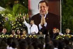 Nicaraguas Präsident Daniel Ortega bei einer Ehrenzeremonie für Hugo Chávez. (Bild: Keystone)