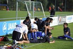 Die Kicker aus Südamerika fühlen sich sichtlich wohl in Abtwil. (Bild: Hanspeter Schiess)