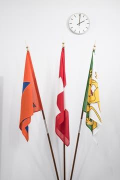 Die Flaggen des Zivilschutzes, der Schweiz und des Thurgaus. (Bild: Thi My Lien Nguyen)