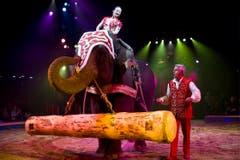Linna Knie-Sun mit den asiatischen Elefanten. (Bild: Keystone)