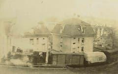 Ein Güterzug mit Dampflokomotive zwischen Güterbahnhof und Ruckhaldekurve. Das Bild entstand vor über 100 Jahren. (Bild: Stadtarchiv der Ortsbürgergemeinde St.Gallen)