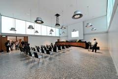 Im Bundesverwaltungsgericht wurden Journalisten zur Schlüsselübergabe empfangen. (Bild: Hanspeter Schiess)