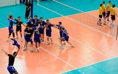 Der Triumph ist perfekt: Volley Amriswil hat den Cup gewonnen. (Bild: Keystone)