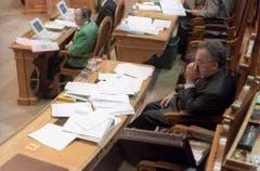 Bundesrat Otto Stich während Budgetberatungen im Jahr 1994. (Bild: Keystone)
