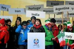 ABD0121_20170206 - ST. MORITZ - SCHWEIZ: Die Schweizer Bundespräsidentin Doris Leuthard am Montag, 6. Februar 2017, im Rahmen der Eröffnungsfeier der 44. alpinen Ski WM in St. Moritz. Die 44. alpinen Ski-Weltmeisterschaften finden vom 06.-19. Februar 2017 in St. Moritz in der Schweiz statt. - FOTO: APA/HELMUT FOHRINGER (Bild: Keystone)