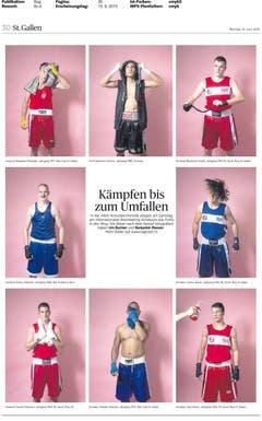 Auch diese Bilderseite von Urs Bucher und Benjamin Manser mit Porträts von Boxern nach dem Kampf wurde ausgezeichnet. (Bild: pd)