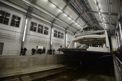 Die Bodensee-Fähre Euregia in der Werft. (Bild: Reto Martin)