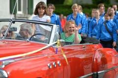 Grossratspräsidentin Sonja Wiesmann wird in Wigoltingen empfangen. (Bild: Reto Martin)