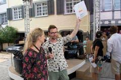 Moderator Nik Harmann bei den Proben zu «SF bi de Lüt - Live» in Wil. (Bild: Ralph Ribi)