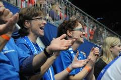 Begeisterte Fans der Amriswiler Volleyballer. (Bild: Rita Kohn)