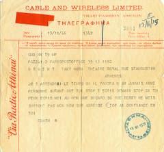 Ein Telegramm von Edith Piaf an ihren Angebeteten, den griechischen Schauspieler Dimitris Horn, aus dem Jahr 1946. (Bild: Keystone)