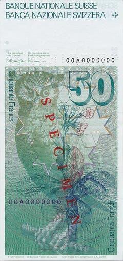 Die sechste Banknotenserie kam ab 1976 in Umlauf. (Zeichnung: Uhu, Primel und Sterne) (Bild: Archiv der SNB)