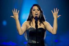Sie machte das Rennen: Mélanie René singt am Eurovision Song Contest in Wien für die Schweiz. (Bild: Keystone)
