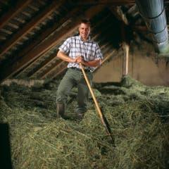 Über 20 Jahre später: Brunner im Heustock seines Hofes. Er ist nun Präsident der SVP Schweiz. (Bild: Keystone)