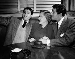 Der junge Jerry Lewis auf einem Bildausdem Jahr 1949, zusammen mit der Sängerin Margaret Whiting und seinem anfänglichen Filmpartner Dean Martin. (Bild: Keystone)