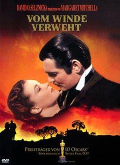 """Der wohl berühmteste Kuss der Filmgeschichte aus """"Vom Winde verweht"""": Clark Gable und Vivien Leigh alias Rhett Butler und Scarlett O'Hara. (Bild: Keystone)"""