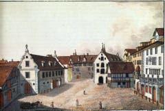 Der Bohl vom Marktplatz her um 1800. In der Mitte das Waaghaus, links der «Nothenstein» (heute Sitz der gleichnamigen Bank) und das Zeughaus. (Bild: Sammlung Reto Voneschen)