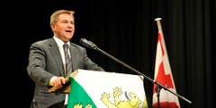 SVP-Präsident Toni Brunner hält eine Rede in Wängi. (Bild: Reto Martin)