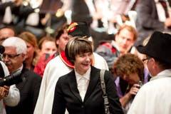 Hoher Besuch am Musikfest: Bundespräsidentin Micheline Calmy-Rey. (Bild: Michel Canonica)