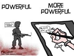 Auch Karikaturisten reagierten auf den Anschlag. Hier ein Cartoon von MacLeod. (Bild: Keystone)